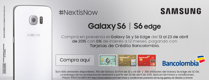 Preventa Samsung Galaxy S6 en Alkosto y Ktronix