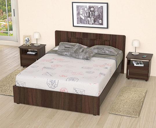 Kombo maderkit cama doble 2 mesas de noche roble alkosto for Mueble cama doble