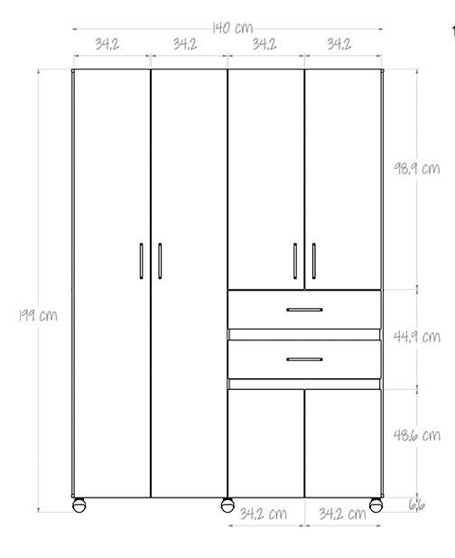 Armario 140 cm maderkit nova 140 wengue - Armario 180 ancho ...