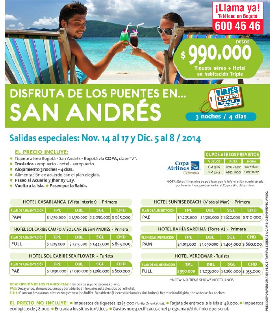 Viaje a San Andrés en Octubre y Noviembre con viajes alkosto