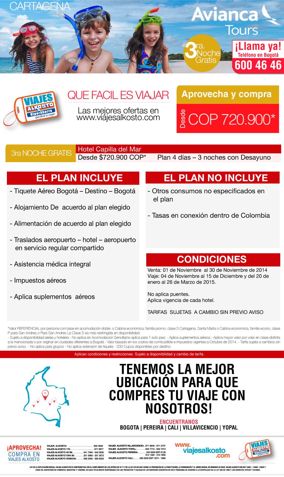 Viaje a Cartagena en noviembre con viajes alkosto
