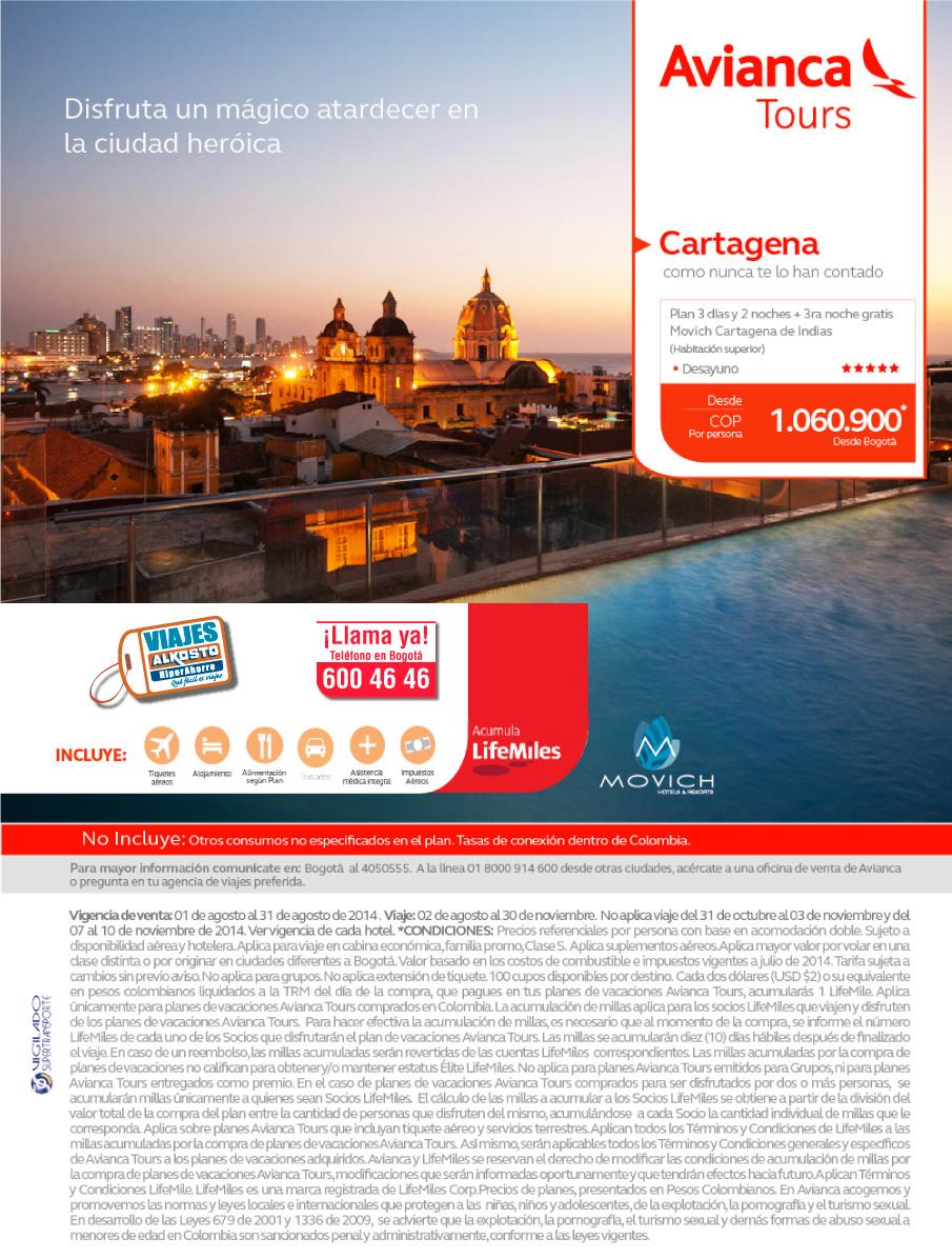 Viaje a Cartagena en Agosto con viajes alkosto