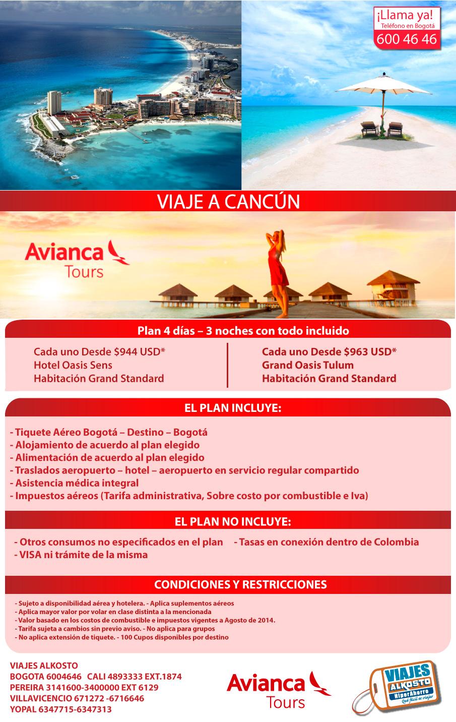 Viaje a Cancún septiembre con viajes alkosto
