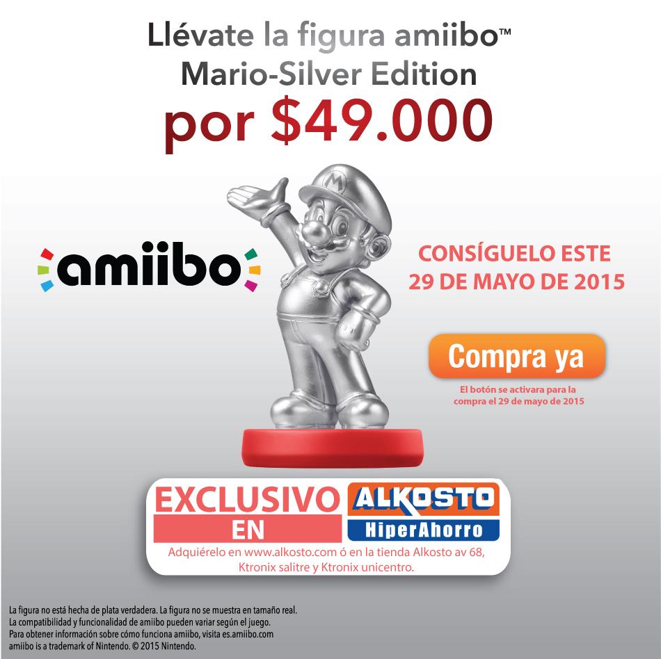 Amiibo Super Mario Silver en exclusiva en Alkosto