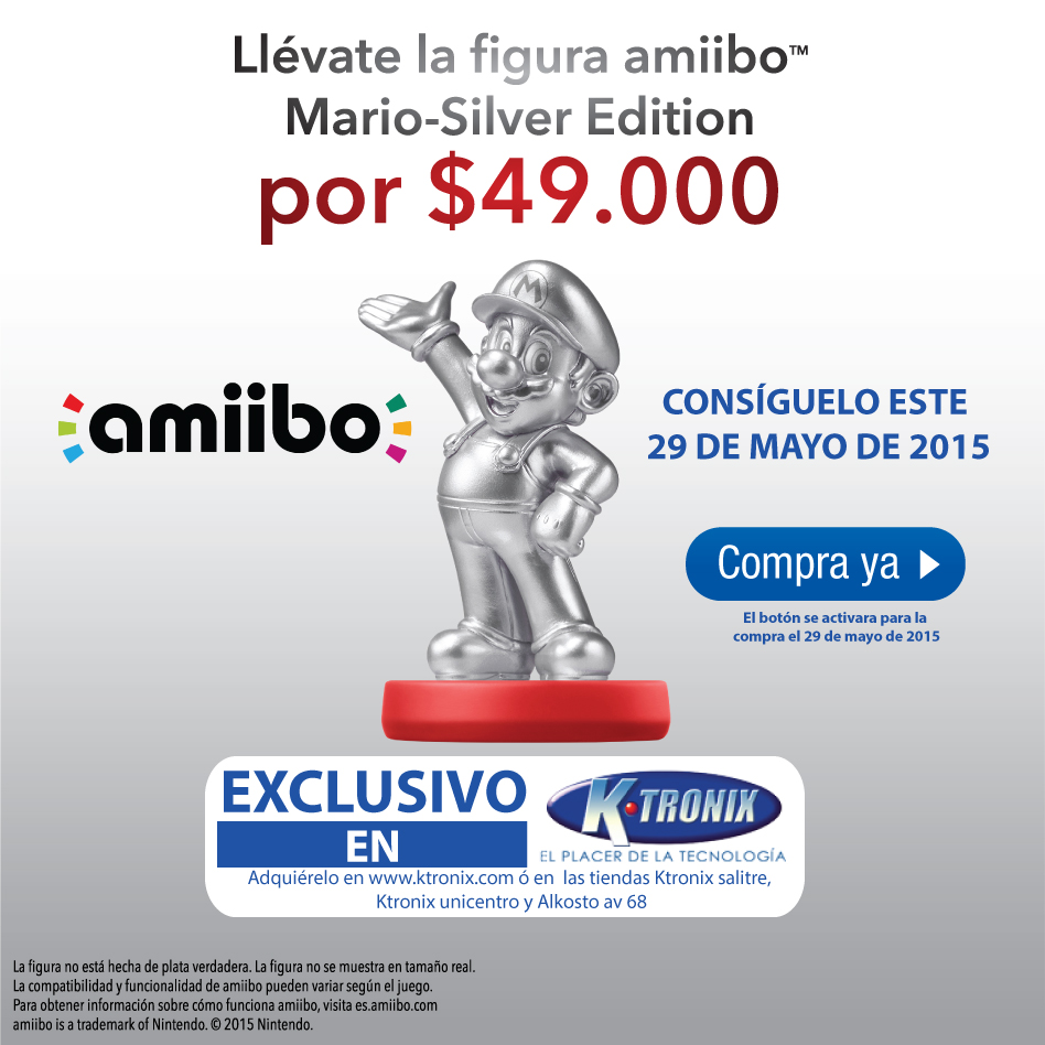 Amiibo Super Mario Silver en exclusiva en Ktronix