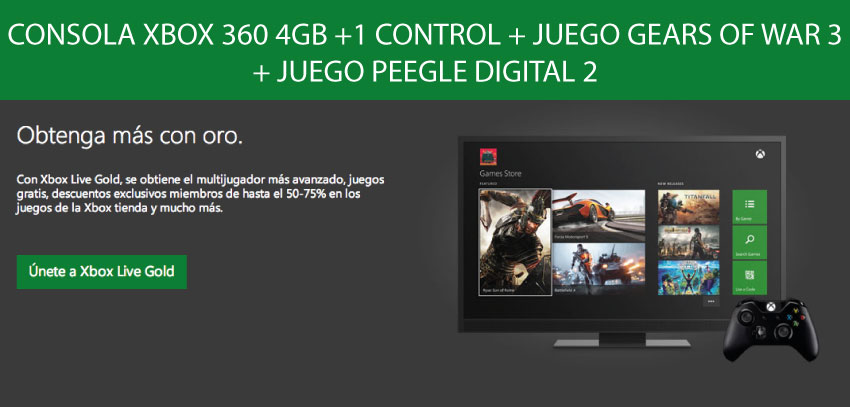 ConsOLA xbox 360 4GB +1 CONTROL + JUEgo GearS OF WAR 3 + juego peegle digital2