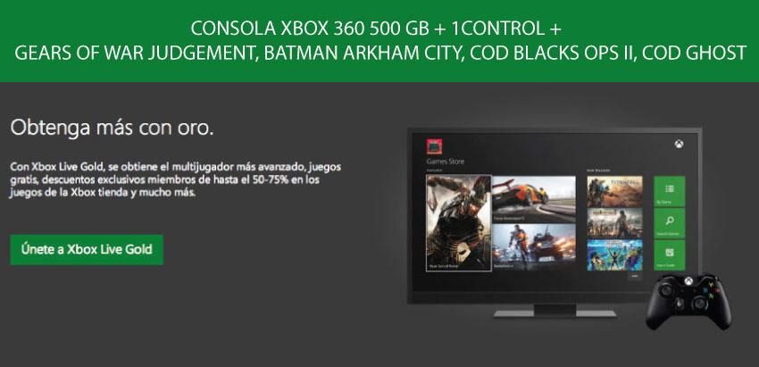 ConsOLA xbox 360 4GB +1 CONTROL + 4 JUEGOS