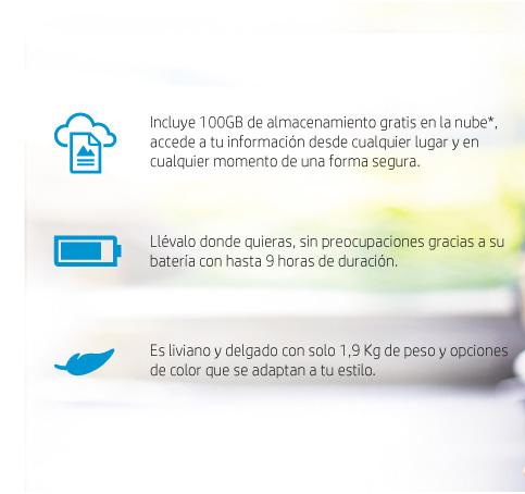 Incluye 100GB de almacenamiento gratis en la nube, llevalo donde quieras bateria hasta con 9 horas de duración, liviano y delgado con solo 1,9kg de peso