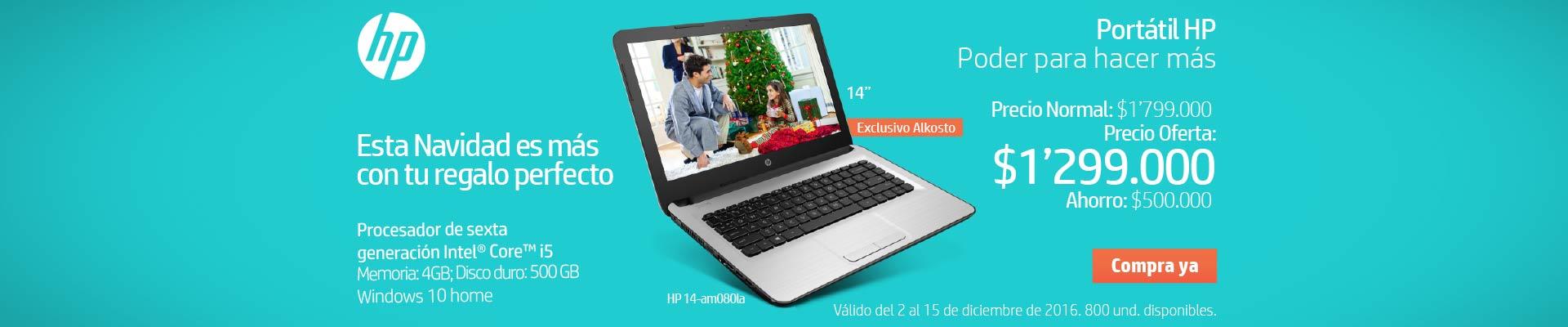 Pauta HP - Principal Home Alkosto - diciembre 3 - Portátil HP AM080 Core i5 14