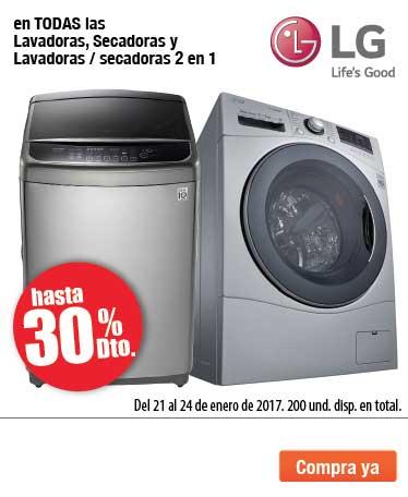 AK OFER - enero 21 - Hasta 30% de descuento en todas las Lavadoras, Secadoras y Lavadoras/Secadoras 2 en 1 marca LG