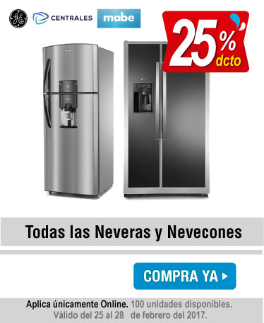 25 Dto. Neveras y Nevecones Mabe, centrales, Ge - banner oferta