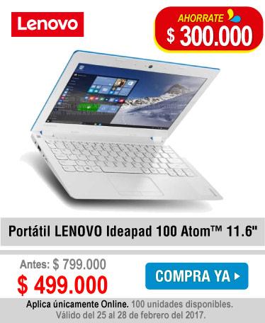 Portátil LENOVO Ideapad 100 Atom™ 11.6 - banner oferta