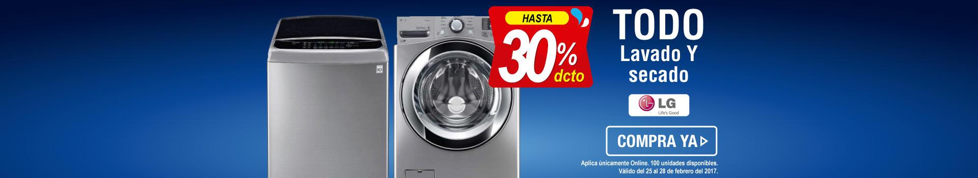 Hasta 30 Dto. lavado y secado LG - banner principal