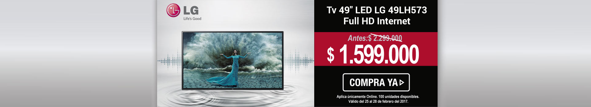 Tv 49 123 cm LED LG 49LH573 Full HD Internet - banner principal