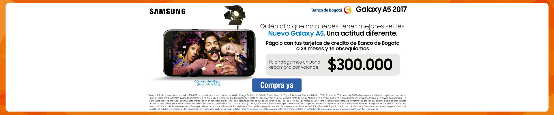 Pauta SAMSUNG - PPAL - Lanzamiento Samsung A5 con Banco de Bogotá - Febrero 20