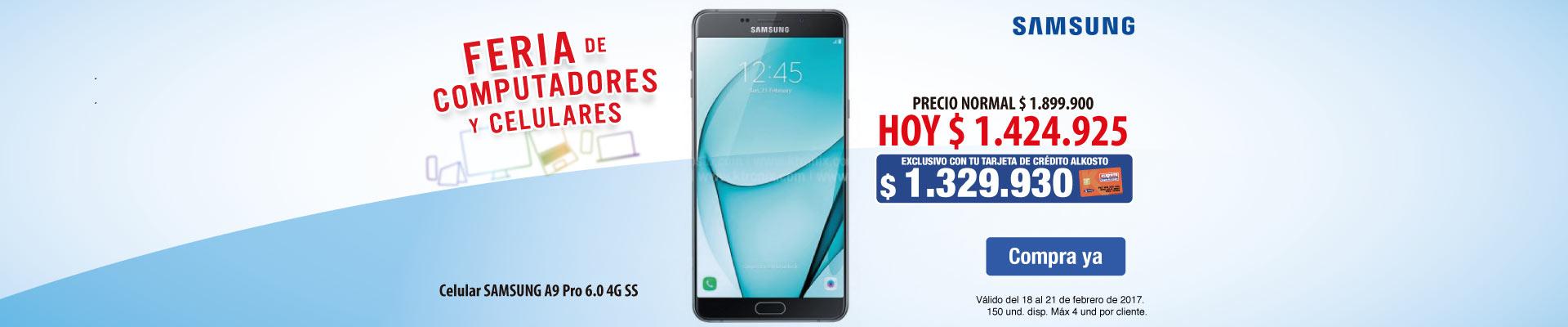 PPAL KT - 30% dto en Samsung A9 Pro Con Tarjeta de Crédito Alkosto - 18Feb