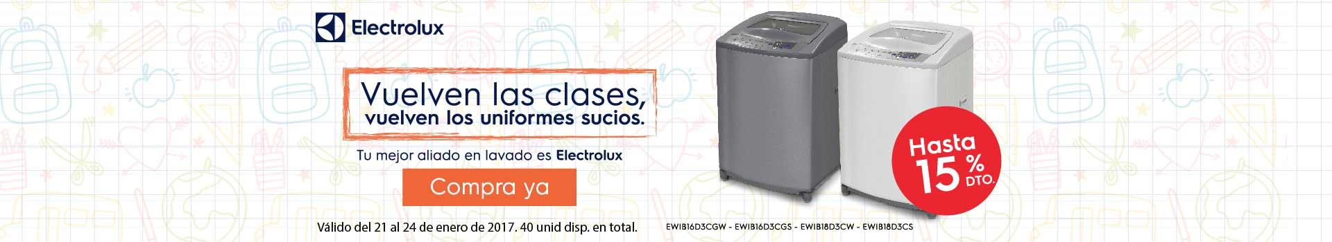 CAT ELECTROHOGAR - enero 21 - Hasta 15%Dto. en Lavadoras ELECTROLUX ref. seleccionadas
