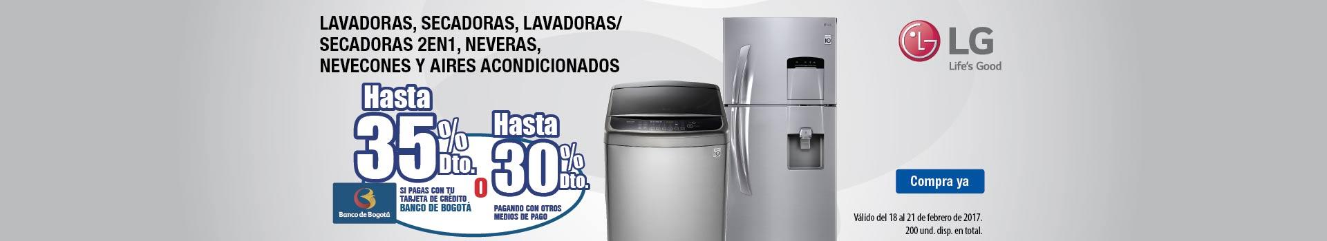 HIPER - feb 18 - LG Hasta 35%dto con Banco de Bogota y Hasta 30%Dto con otros medios