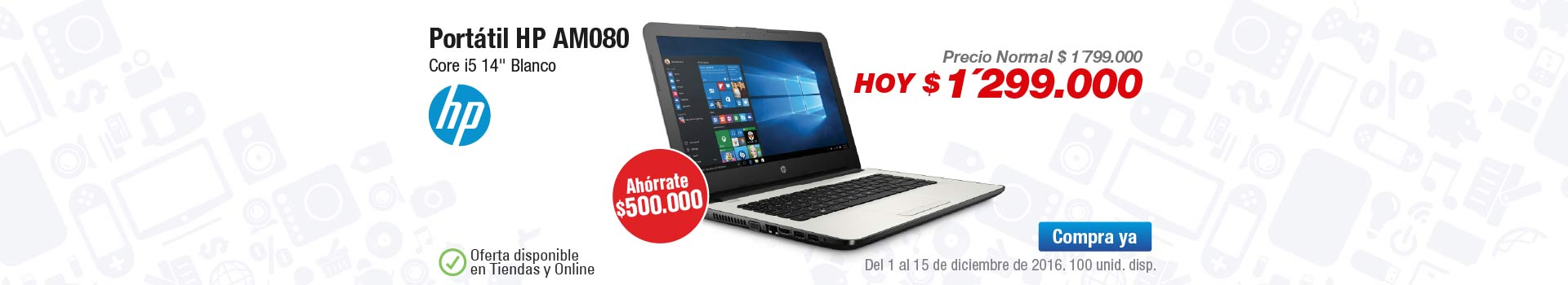 Categoria PC y Tablets - diciembre 2 - Portátil HP AM080 Core i5 14