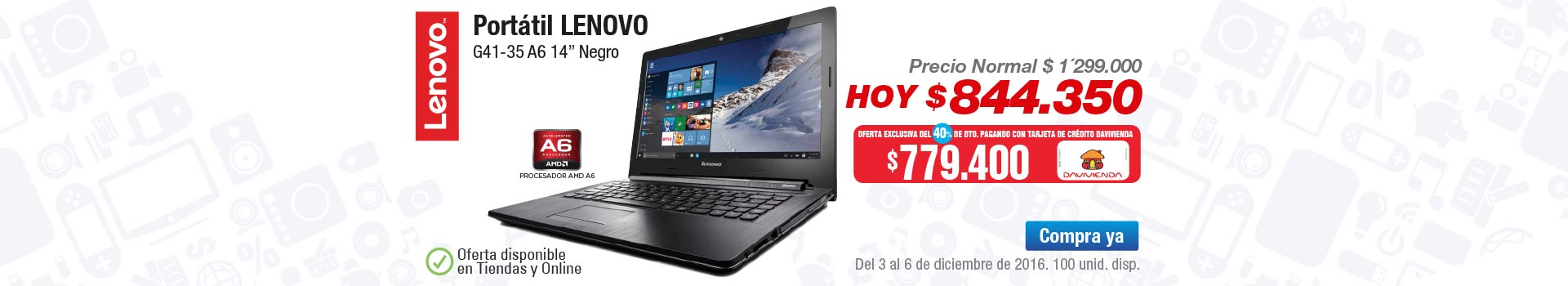 "Oferta Computadores y Tablets - diciembre 3 - Portátil LENOVO G41-35 A6 14"" Negro"