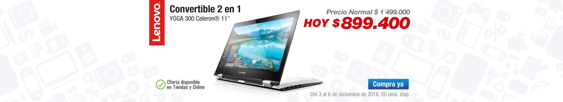 Ofertas Computadores y tablets - diciembre 2 - Convertible 2 en 1 LENOVO YOGA 300 Celeron 11