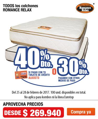 OFER AK - 40%dtoTCA 30%dtoCMP en Colchones Romance Relax- feb25