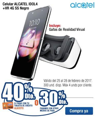 OFER KT - 40 dto en Celular ALCATEL IDOL4+VR 4G SS Negro con Tarjeta de Crédito Alkosto - Feb25