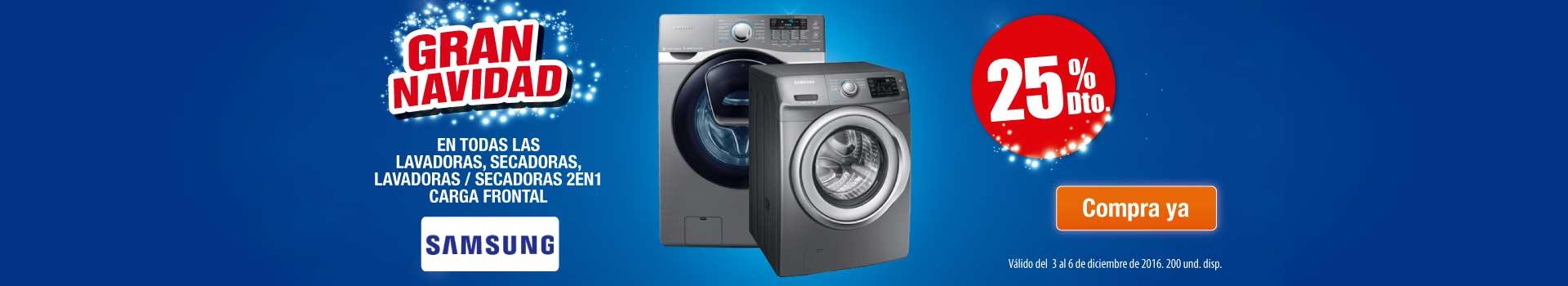 25% Dto. en todo lavado, secado carga frontal Samsung - Hiperofertas - Dic 3