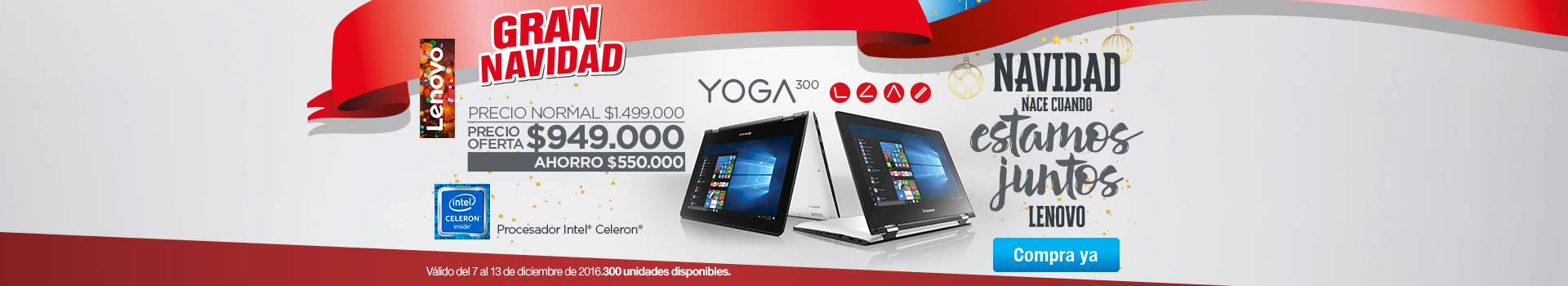 LENOVO - Categoria PC y Tablets - diciembre 9 - Convertible 2 en 1 LENOVO YOGA 300 Celeron 11