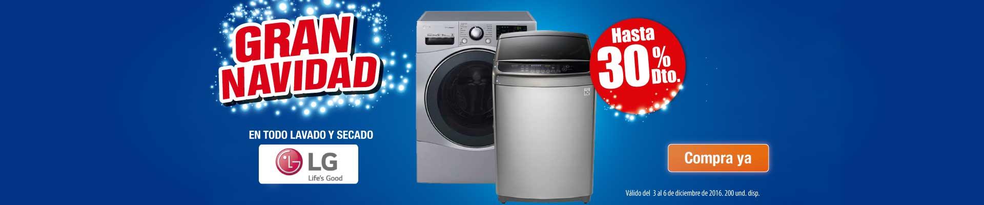 Hasta 30% Dto. en todo lavado y secado LG - Principal Alkosto - Dic 3