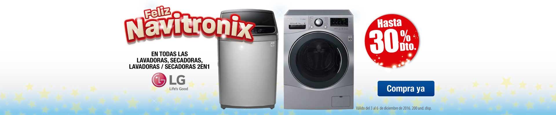 Hasta 30% Dto. en todo lavado y secado LG - Principal Ktronix - Dic 3