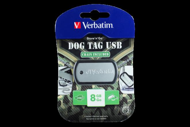 Memoria VERBATIM 8GB Dog Tag Negro