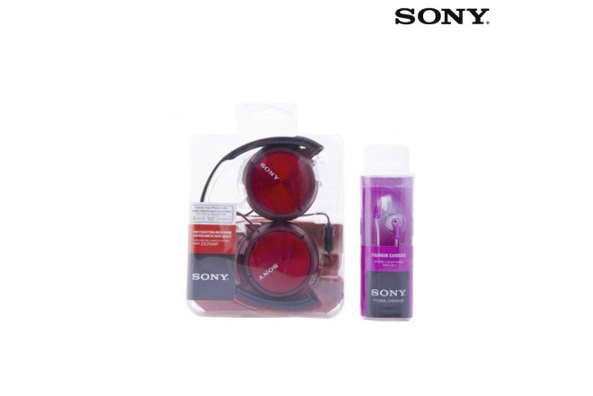 Combo Audífonos SONY Alámbrico  OnEar Rojo +InEar Rosado