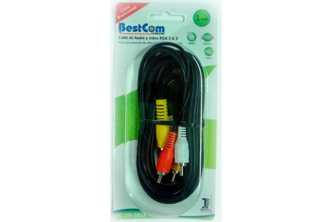 Cable Audio/Video BESTCOM 3X3 RCA 1.83 mts