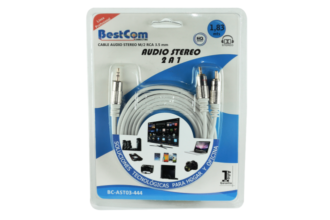 Cable BESTCOM Audio Stereo M/2 RCA 3.5 mm 2 a 1 (Accesorios)