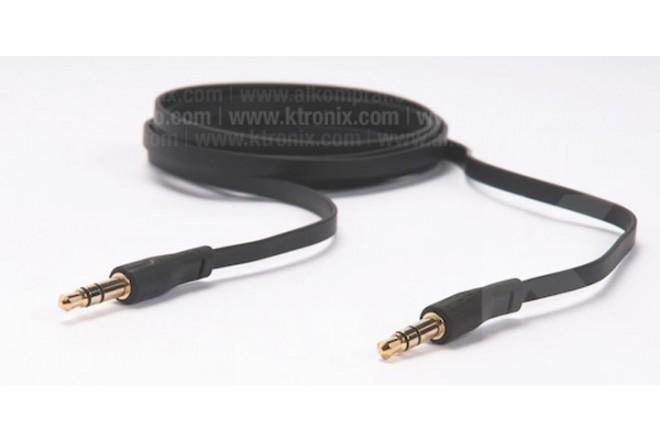 Cable Uno a Uno POSH Plano 1 8M 3.5mm Negro