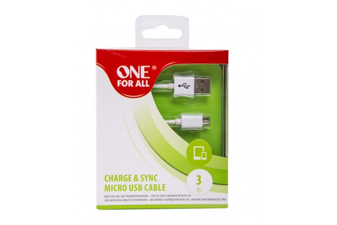 Cable ONE FOR ALL USB / Micro USB  3Metros - Blanco