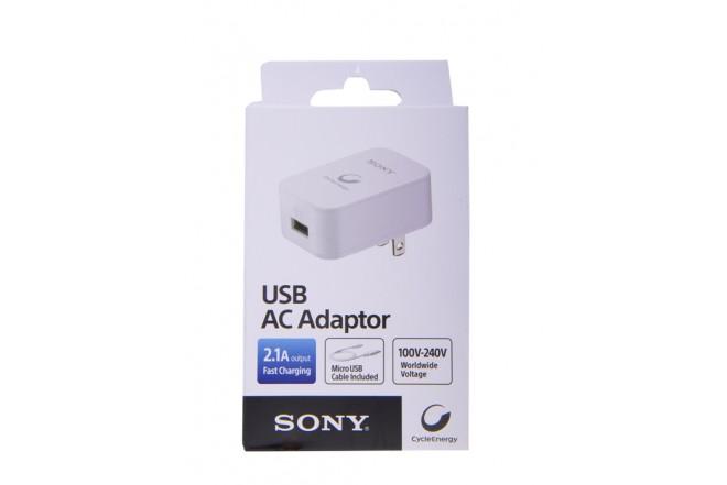 Cargador de Pared - SONY -  USB - 2.1V -USB - AC Adaptador - Blanco
