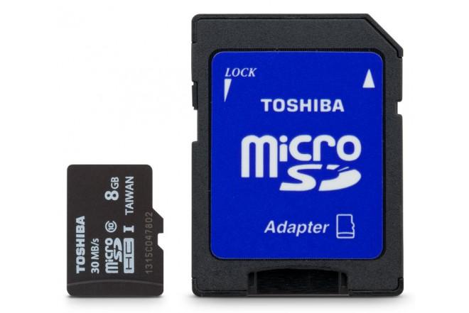 Memoria Micro SD TOSHIBA 8GB + Adaptador Cl10
