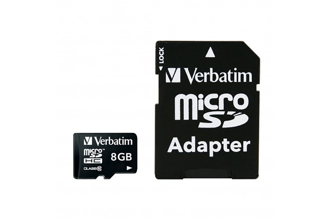 Memoria Micro SD VERBATIM 8GB + Adaptador Cl10