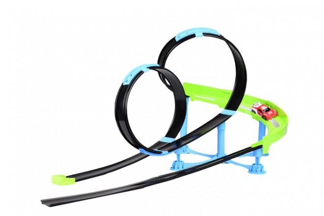 Pista Rollin coaster raceway Bburago Go gears verde y negro