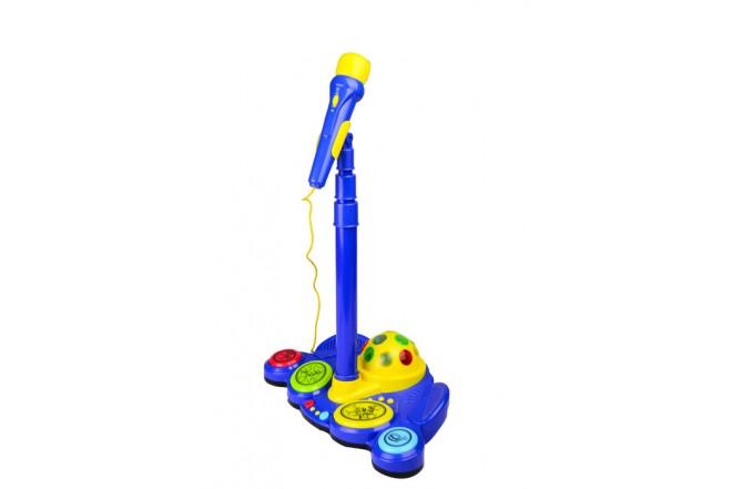 Micrófono de pie con luz y sonido Win Fun Azul