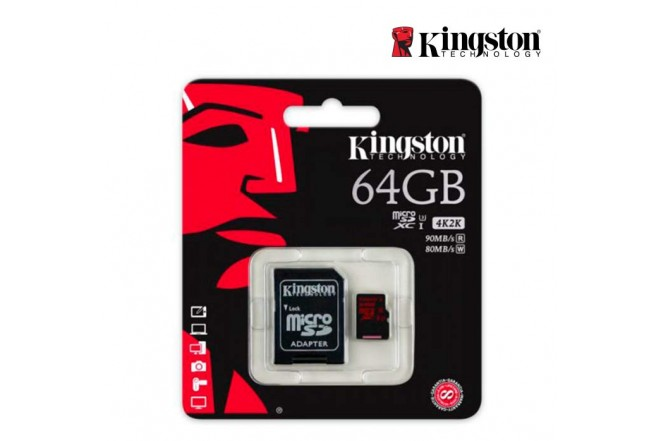 Memoria Micro SD KINGSTON 64GB + Adaptador C10