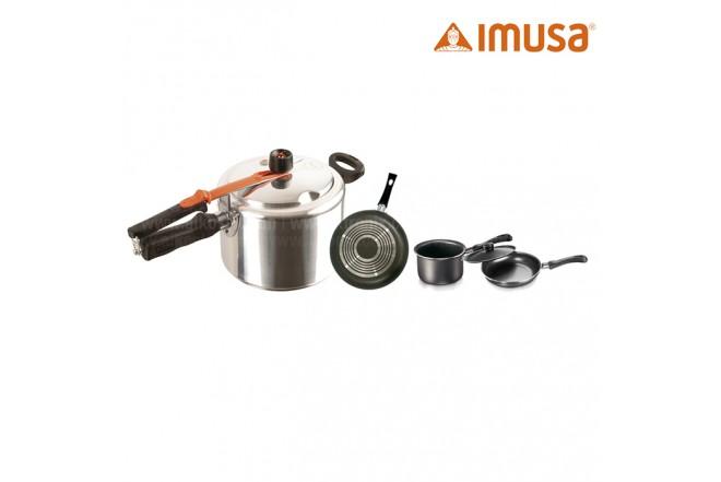 KOMBO IMUSA: Olla Presion Safe Plus 4. 5 Litros + Perol + Cacerola + Sartén