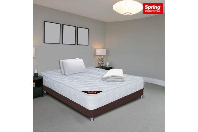 KOMBO SPRING DOBLE: Colchón SPRING Pillow 140x190 + Base cama Salim + 2 Almohadas Siliconadas + 1 protector