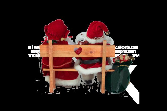 Decoración Navideña Santa y Pareja Sentados Con Movimiento