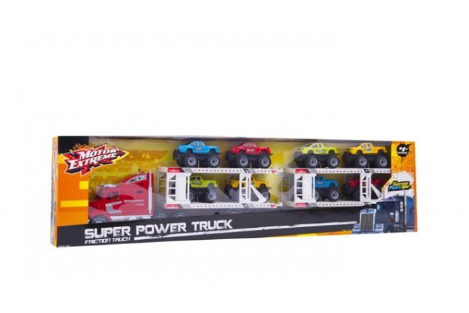 Camión fricción con 8 autos Happy Line Rojo