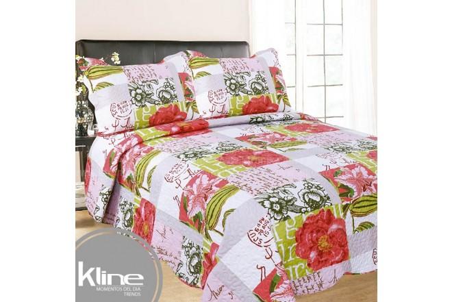 Cubrecama K-LINE Sencillo Flores Rosado