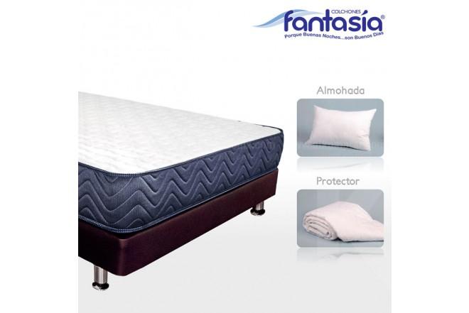 KOMBO FANTASÍA: Blue Lexus + Base cama + Protector  + Almohadas 100x190 cms