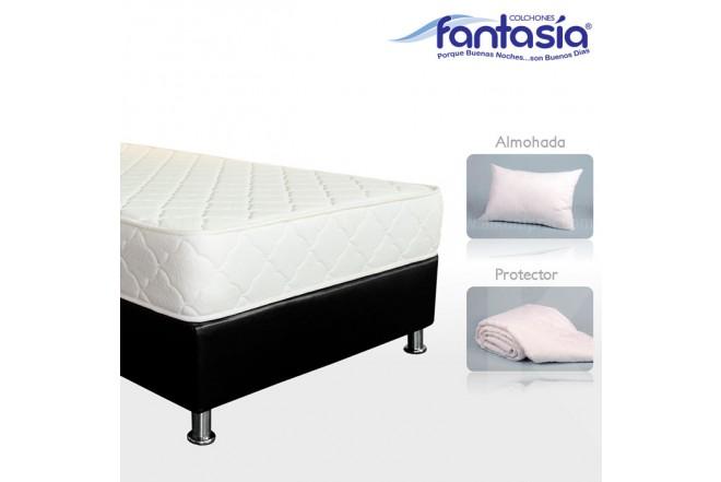 KOMBO FANTASÍA: Colchón Doble Litium Resortado + Base cama + Protector  + Almohadas 140x190 cms
